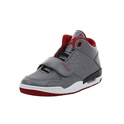 Nike Jordan Flight Club 90's Mens Cool Grey/Gym Red/Black/White High Top Sneakers (Nike Jordan Shoes Men Flight Club)