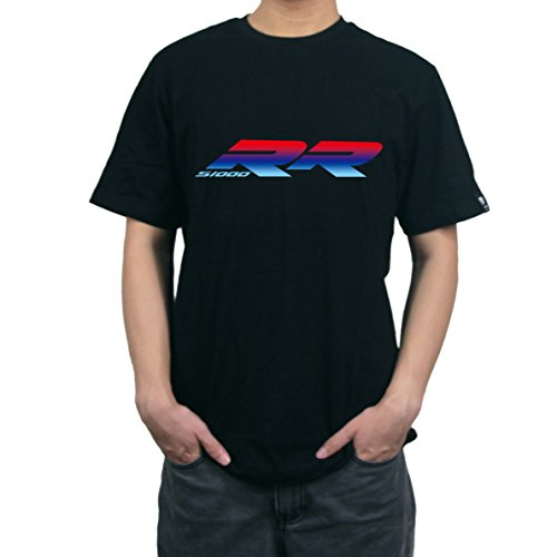 PRO-KODASKIN Men Cotton Round Neck Casual Printing T Shirt Sweater For BMW S1000RR (L, Black 1) (Jersey Cotton Bmw)