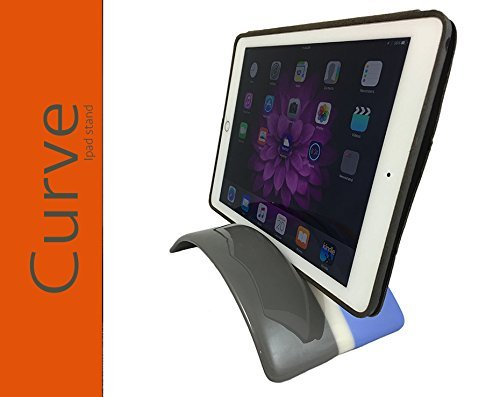 CURVE STAND for iPad/tablet, Fused Glass Tablet Holder (iPhone, iPad, Kindle Fire, Samsung Edge and Galaxy), Grey and Light Blue with Cream Tabs