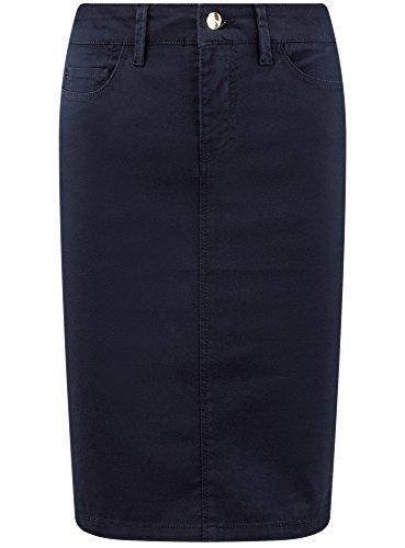 7900n Femme Poches Bleu Cinq Collection oodji Coton en Jupe 786RxqZw