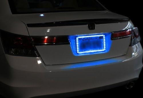 Universal 12v 54 LED Blue Color Light Acrylic License Plate Frame