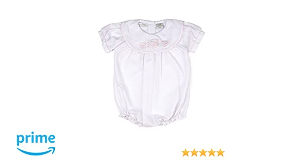 dd9e969f Amazon.com: Carriage Boutique Baby Girl Classic Monogram Blank Bubble -  White w Pink Trim: Clothing