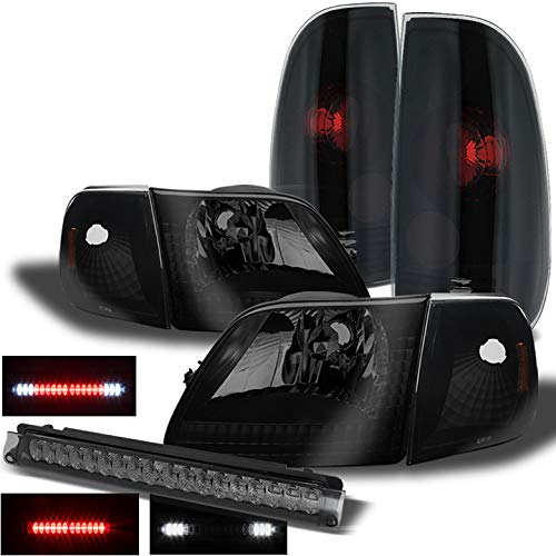 Xtune for 1997-2004 Ford F150 Mystery Black Smoked Headlights + Tail Lights + LED 3rd Brake Lamp 1998 1999 2000 2001 2002 2003