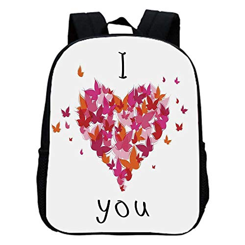 Love Decor Fashion Kindergarten Shoulder Bag,Stylish Heart Figure Filled with Butterflies Soul Mate Real True Deep My Dear Love Illustration For Hiking,One_Size ()