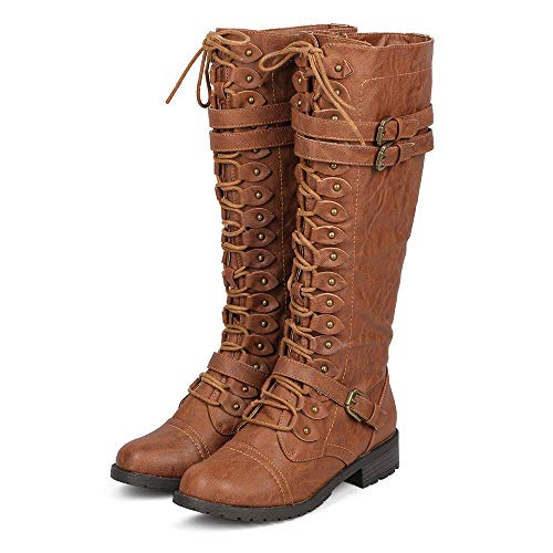 (ShoBeautiful Women's Knee High Lace Up Buckle Winter Combat Stacked Heel Riding Boots Tan 8h)