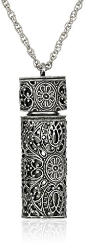 1928 Jewelry Womens Antiqued Pewter Filigree Covered 3.69 ml Glass Vial Pendant Enhancer, 30 ()