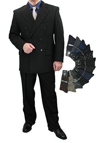 - Sharp 2-Piece Double Breasted Men's Dress Suit - Black 48L