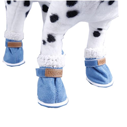 Elevin(TM)4PCS Cute Fancy Dress Up Pet Dog Chihuahua Winter Snow Warm Boots Puppy Anti-Slip Walking Outdoor Shoes for Small Dog (M, blue) (Blue Chihuahua compare prices)