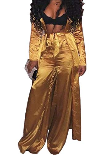 (Yusky Womens Charmeuse Tie Waist Jersey Palazzo Trousers Outfit Golden)