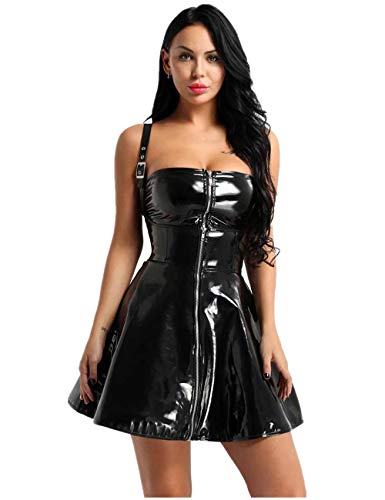 iiniim Women Sexy Dress PVC Leather Wet Look Clubwear Party Corset Dress Suspenders Skirt Black XX-Large (Patent Pvc Dress)
