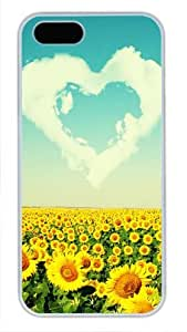 Protective PC Case Skin for iphone 6 4.7 White PC Case Back Cover Shell for iphone 6 4.7 with Love Sunflowers