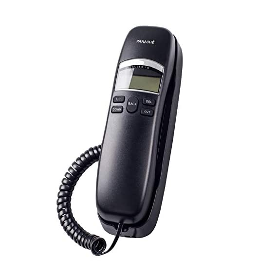 Panache PSL-5020 Corded Slim Landline Phone with Caller Id Display (Black)