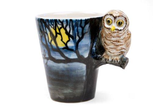 Owl 8oz Dark Blue Handmade Coffee Mug (10cm x 8cm)