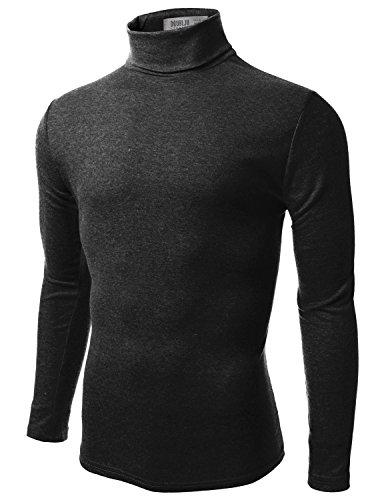 Doublju Mens Long Sleeve Comfortable Turtle Neck Pullover