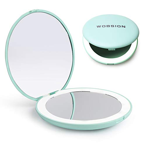 wobsion LED Lighted Travel Makeup Mirror, 1x/10x Magnification Compact Mirror, Portable for Handbag, Purse, Pocket, 3.5…