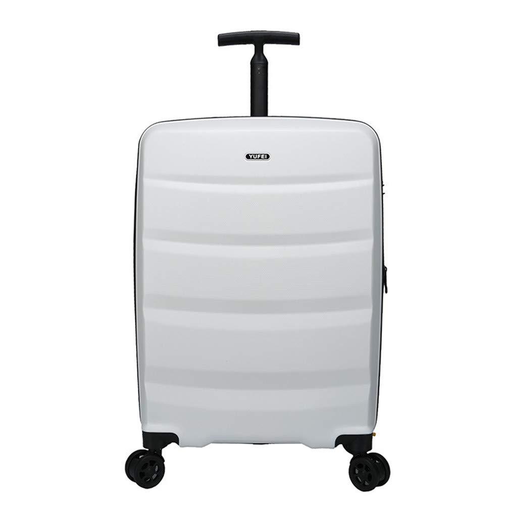 スーパー軽量ABSハードシェル旅行キャビン手荷物スーツケース4つの車で運ぶ  White B07LH388NG