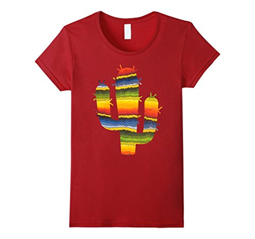 Blanket Cranberry - Womens Ethnic Mexican Blanket Style Cactus T-Shirt Small Cranberry
