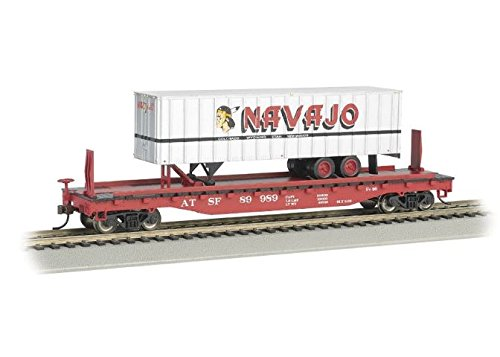 - Bachmann Industries 52' with 35' Piggyback Trailer Santa Fe Navajo Freight Lines Flat Car, 6