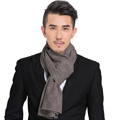 Scarf Pure color long wool warm in autumn and winter knitted scarf men's couple wild double-sided scarf-C One Size by Sweet costume