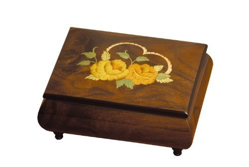 Sorrento Inlaid Music Box (Ercolano Music Wooden Box Heart & Roses Walnut Glossy)