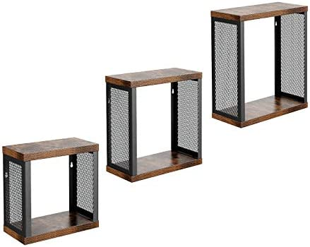Admirable Vasagle Industrial Floating Shelves Set Of 3 Cube Wall Shelves For Photos Decorations In Living Room Office Hallway Kitchen Entryway Rustic Home Interior And Landscaping Mentranervesignezvosmurscom