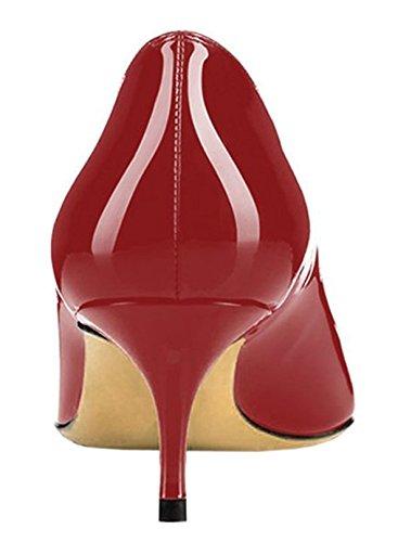 Edefs Tacon Tacones 5cm Tacón Clásicos Mujer Zapatos Mini 6 Burgundy Para De rITgqI1