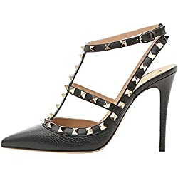 VOCOSI Women's Slingbacks Strappy Sandals for Dress,Pointy Toe Studs High Heels Sandals Shoes Lines-Black 7.5 US