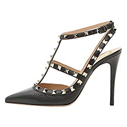 Vocosi Women S Slingbacks Strappy Sandals For Dress Pointy Toe Studs High Heels Sandals Shoes Lines Black 7 Us