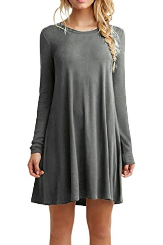 Long Mini Dress Sleeve Women Casual YMING T Round Gray Simple Loose Dress Shirt PvEq6