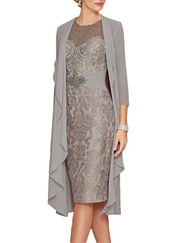 225a364038903a Newdeve Lace Mother of The Bride Dresses Rhinestone Belt with Chiffon  Jacket Gray