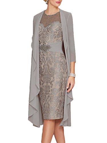 31094751e377e2 Newdeve Lace Mother of The Bride Dresses Rhinestone Belt with Chiffon Jacket  Gray
