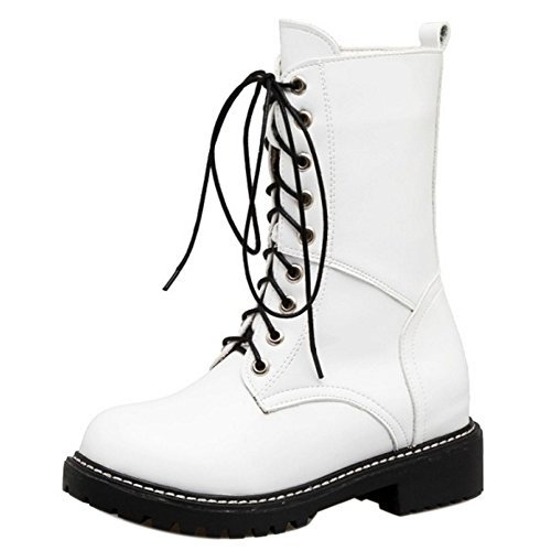 RAZAMAZA Women Boots Lace Up White-H 6rCVaGMpzj