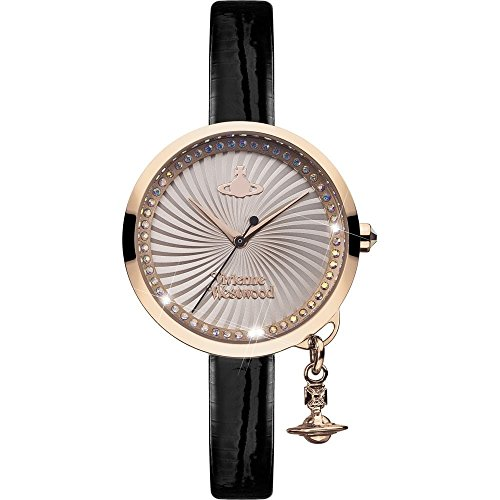 Vivienne Westwood Women's Swiss Quartz Metal and Leather Casual Watch, Color:Pink (Model: VV139RSBK)