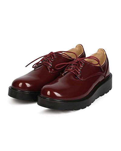 Round Elastic Polished Leatherette Women EC34 Toe Refresh Wedge Burgundy Loafer xPqZ6wppt