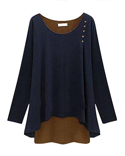 Bleu shirt Marine Manches Chemise Bouton Longues T Pices Deux Faux Femmes zqTpv1fcn1
