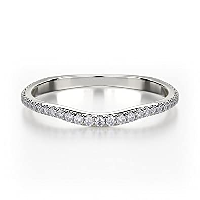 IGI Certified 0.15 Carat Round Diamond Pave Setting Curved Half Eternity Wedding Ring , 18k White Gold