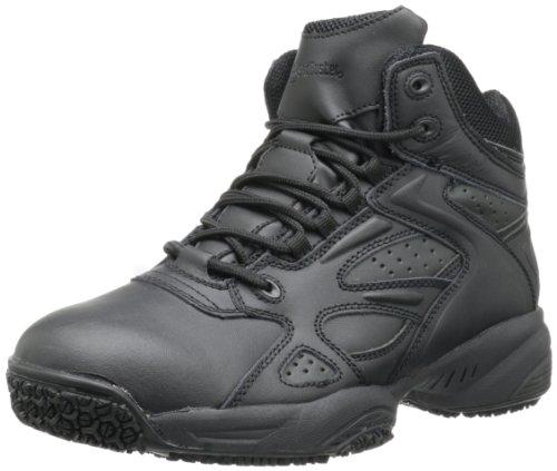 (Skidbuster 5053 Men's Leather & Mesh Slip Resistant Athletic Shoe,Black,8 W US)