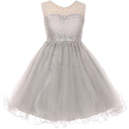 Big Girls Short Length Sparkling Hand Bead Rhinestones on Illusion Tulle Flower Girl Dress Silver - Size 16]()