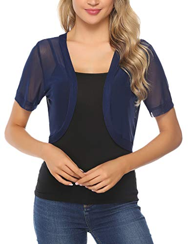 Aiboria Women Short Sleeve Sheer Chiffon Shrug Open Front Bolero Cardigan Navy Blue