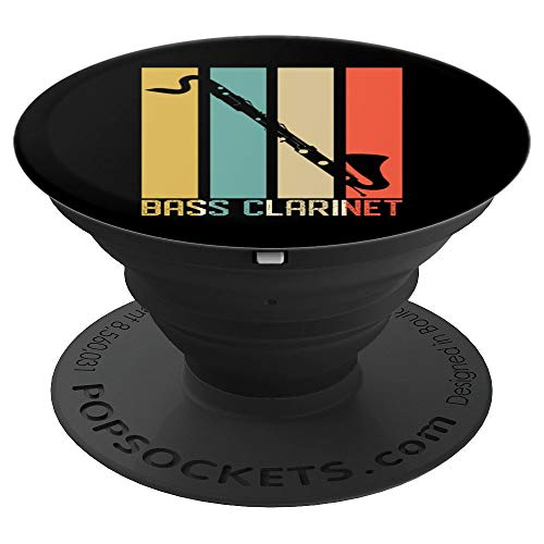 Bass Clarinet Dad Marching Band Father School Retro Black - PopSockets Grip and Stand for Phones and Tablets