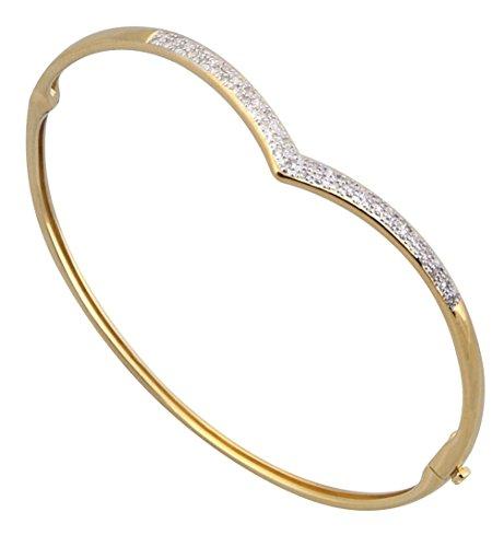 Jewellery World Bague en or jaune 9carats de diamants à charnière et en style bracelet