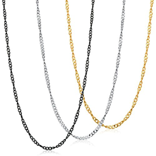 FIBO STEEL 3Pcs 2MM Stainless Steel Curb Link Chain for Men Women Necklace Chain,41cm ()