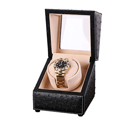 MENG-DuDu Automatic Single Watch Winder Case for Rolex with Quiet Motor,Premium Ostrich Leather Exterior and Soft Flexible Watch Pillows (Black+Camel Velvet)