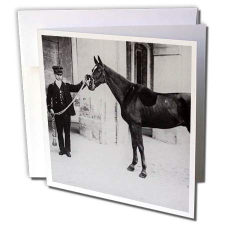 3dRose Scenes from The Past - Magic Lantern - 1910 The Kings Horse King Edwards VII Horse Racing Vintage - 6 Greeting Cards with envelopes (gc_300295_1) ()