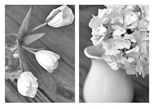 Tulip Country Cottage - Black and White Art Set, French Country Farmhouse Floral Decor, White Tulips and Hydrangea Flower Pictures Wall Art, Cottage Bathroom Decor, Powder Room Art from 5x7 to 16x20