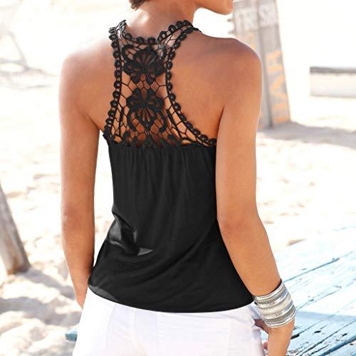Kword Pullover Senza Pizzo T shirt Solido Casuale Maglietta Donna Gilet Maniche Camicetta Camicia Elegante Nero Canotta In rnOqrHx4wS