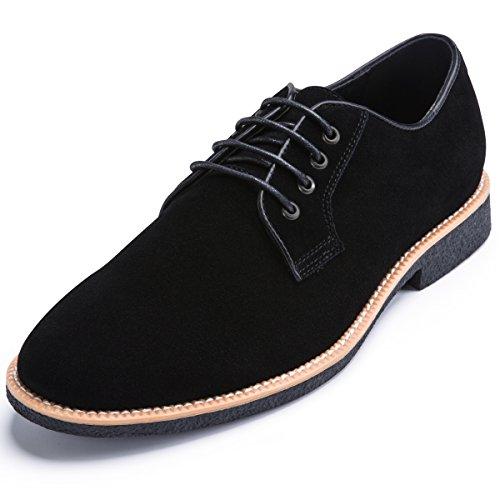 Black Leather Casual Oxfords - Men's Suede Leather Oxford Shoes casual Lace up Dress Shoes BLACK 12 D (M) US