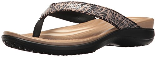 Crocs Women's Capri V Graphic Sequin Flip W Flop, Animal, 8 M US (Croc Pattern Leather)