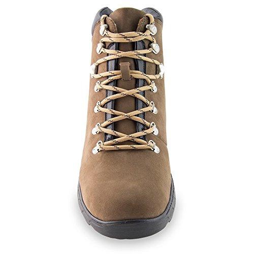 Masaltos Scarpe con Rialzo per Uomo Che Aumentano l'Altezza Fino a 7 cm. Fabbricate in Pelle. Modello Trekking Marrone