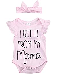 Infant Baby Bodysuit,Newborn Girls Short Sleeve Romper Letter Outfits Summer Clothes Set